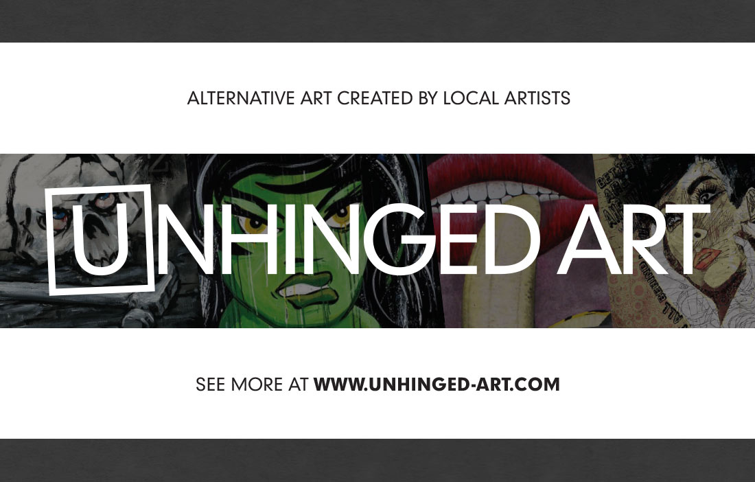 Unhinged Art - On screen flyer/banner
